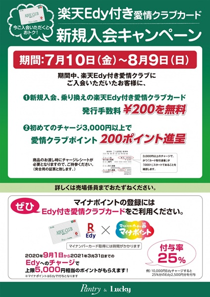 ★ラッキー★楽天Edy付き愛情クラブカード新…の画像